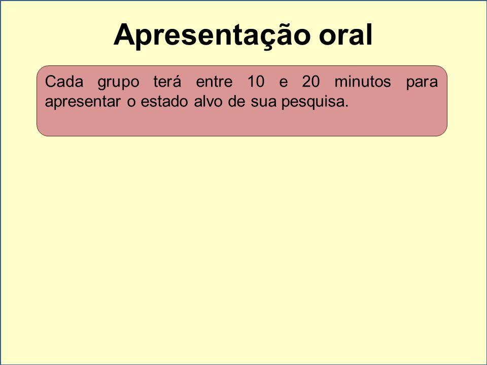 Apresentação oral Cada grupo terá entre 10 e 20 minutos para apresentar o estado alvo de sua pesquisa.