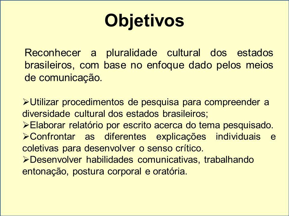 Objetivos Reconhecer a pluralidade cultural dos estados brasileiros, com base no enfoque dado pelos meios de comunicação.