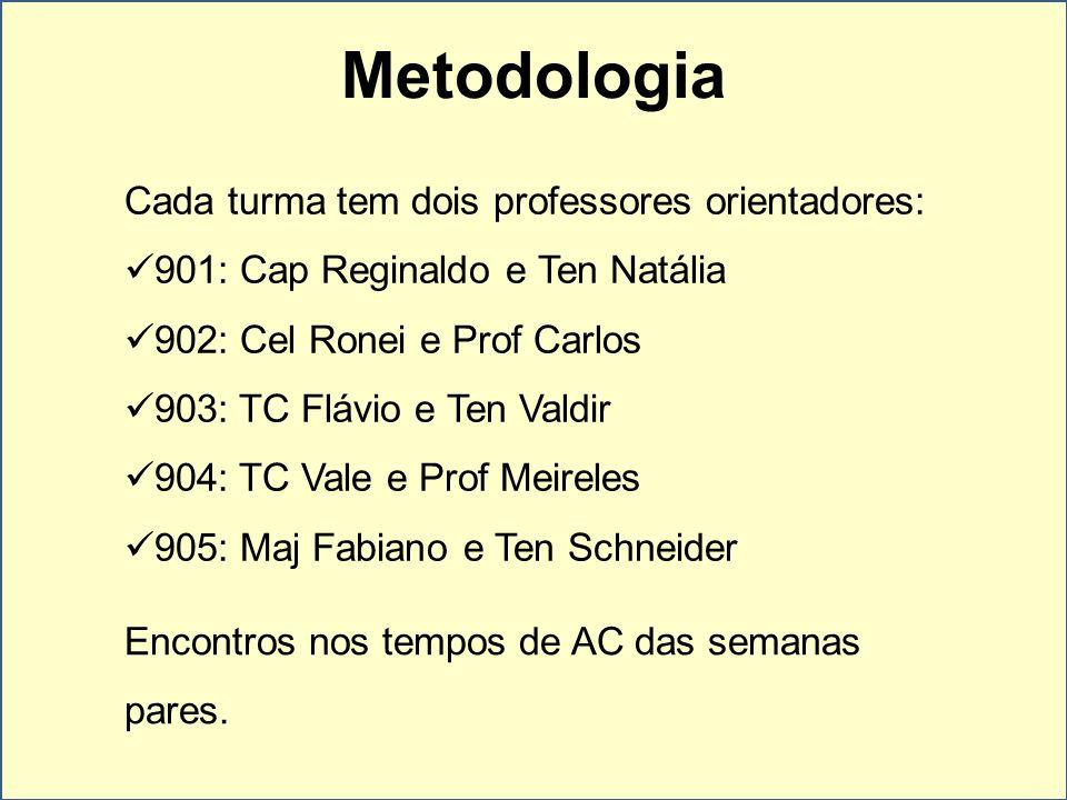 Metodologia Cada turma tem dois professores orientadores:
