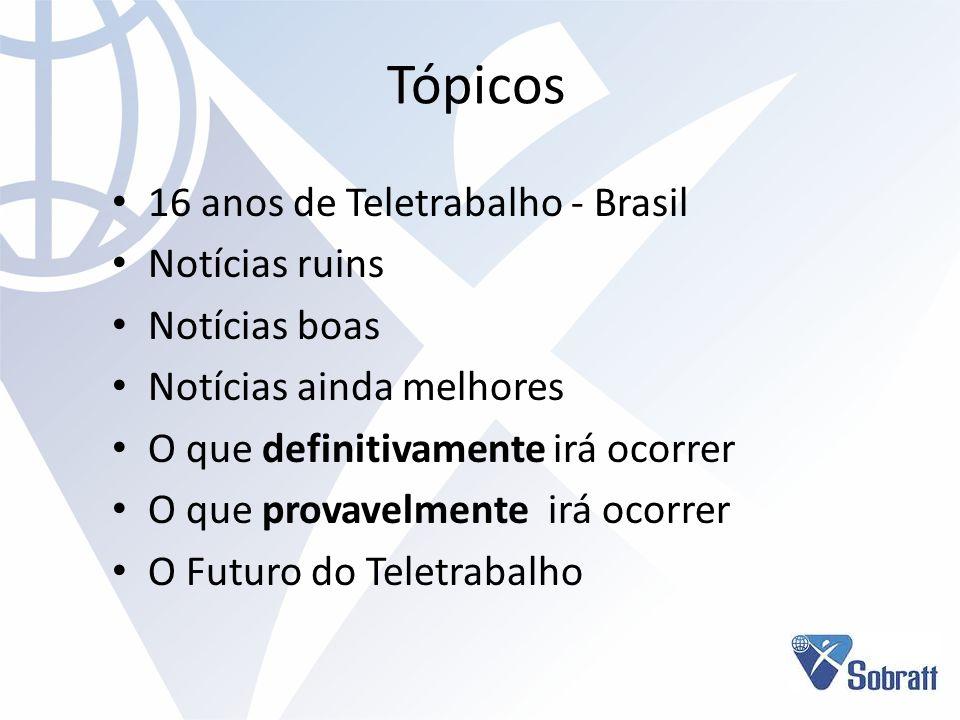 Tópicos 16 anos de Teletrabalho - Brasil Notícias ruins Notícias boas