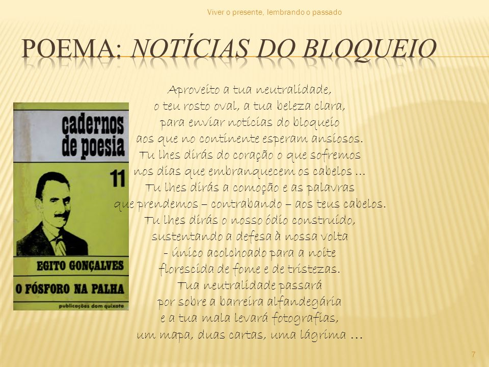 Poema: notícias do bloqueio