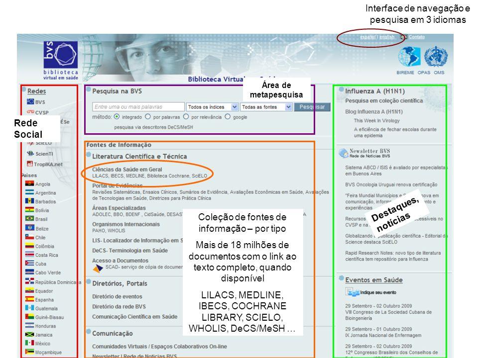 Interface de navegação e pesquisa em 3 idiomas