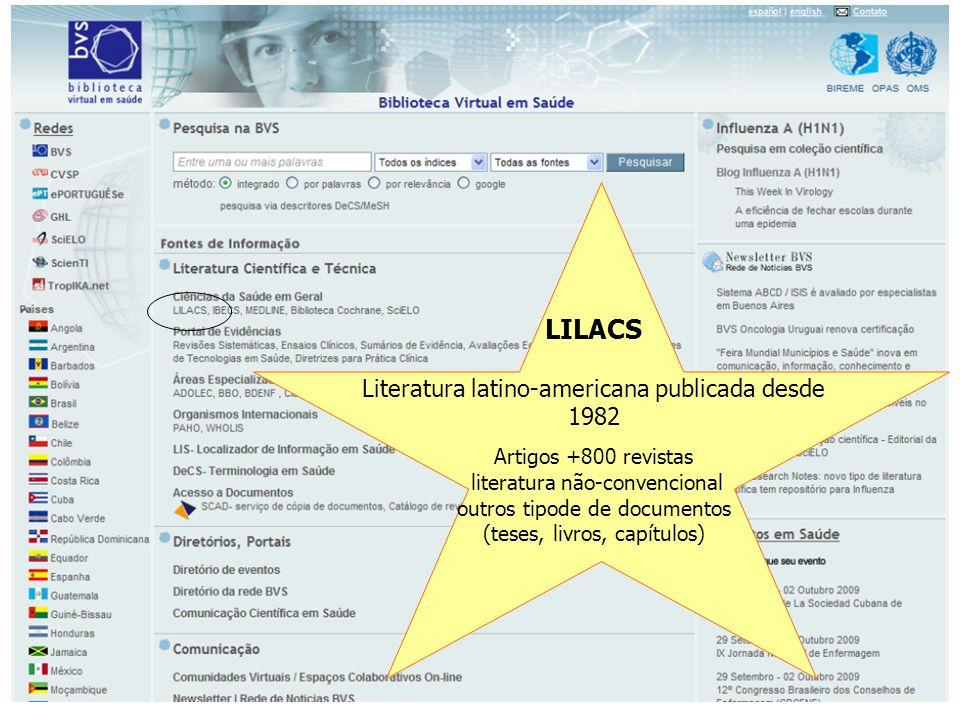 LILACS Literatura latino-americana publicada desde 1982