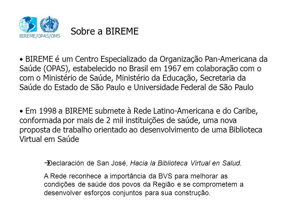 Sobre a BIREME BIREME/OPAS/OMS.