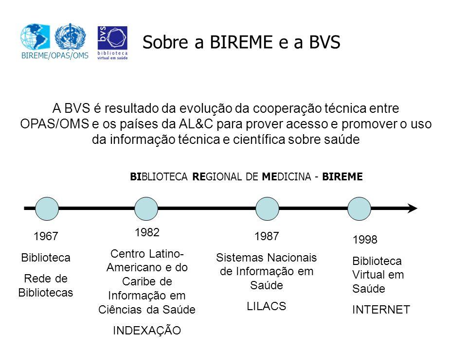 BIREME/OPAS/OMS Sobre a BIREME e a BVS.