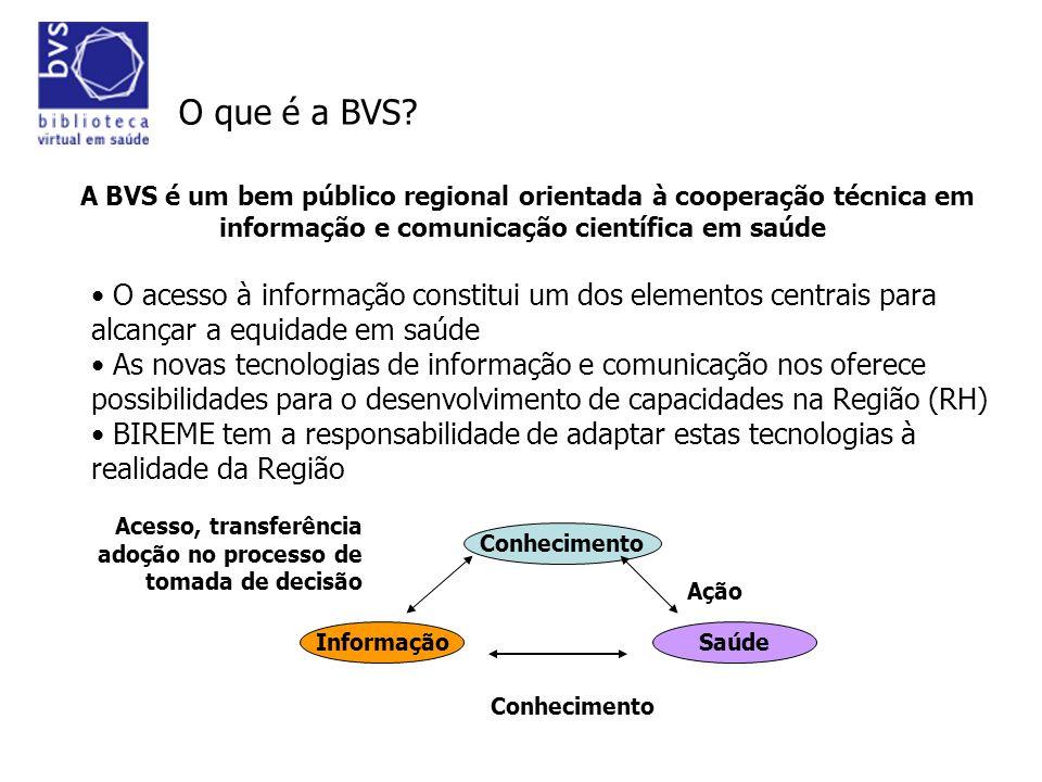 O que é a BVS A BVS é um bem público regional orientada à cooperação técnica em informação e comunicação científica em saúde.