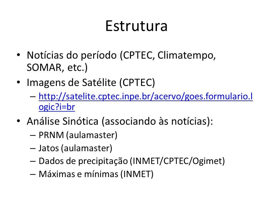 Estrutura Notícias do período (CPTEC, Climatempo, SOMAR, etc.)