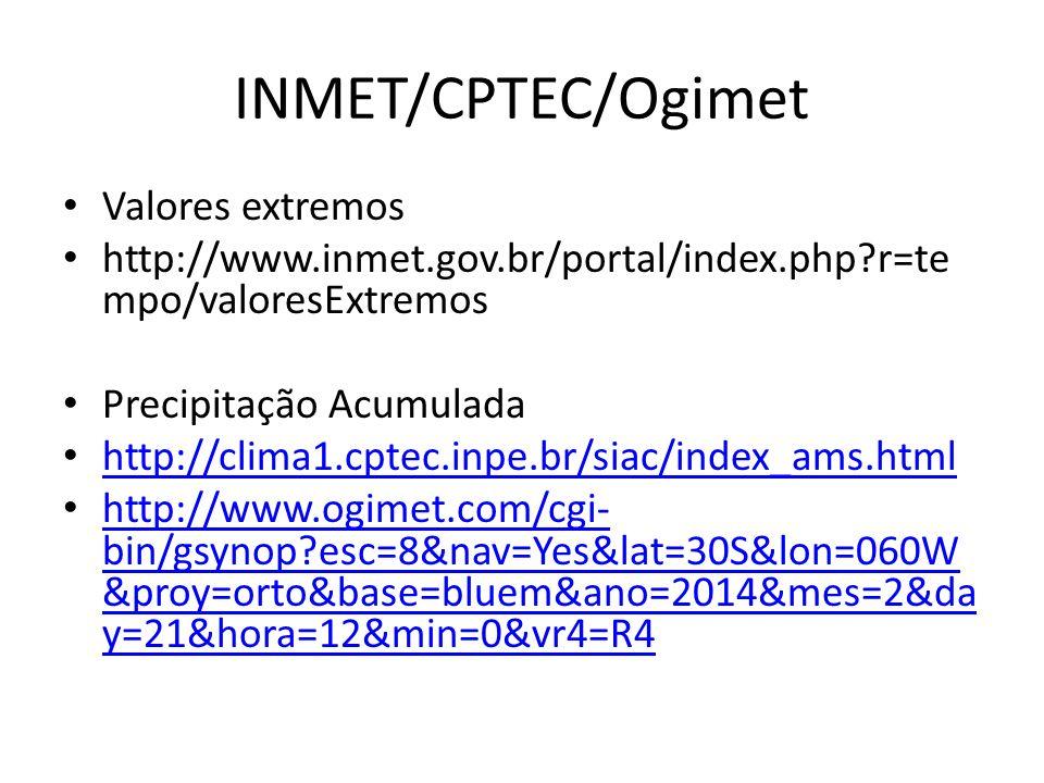 INMET/CPTEC/Ogimet Valores extremos