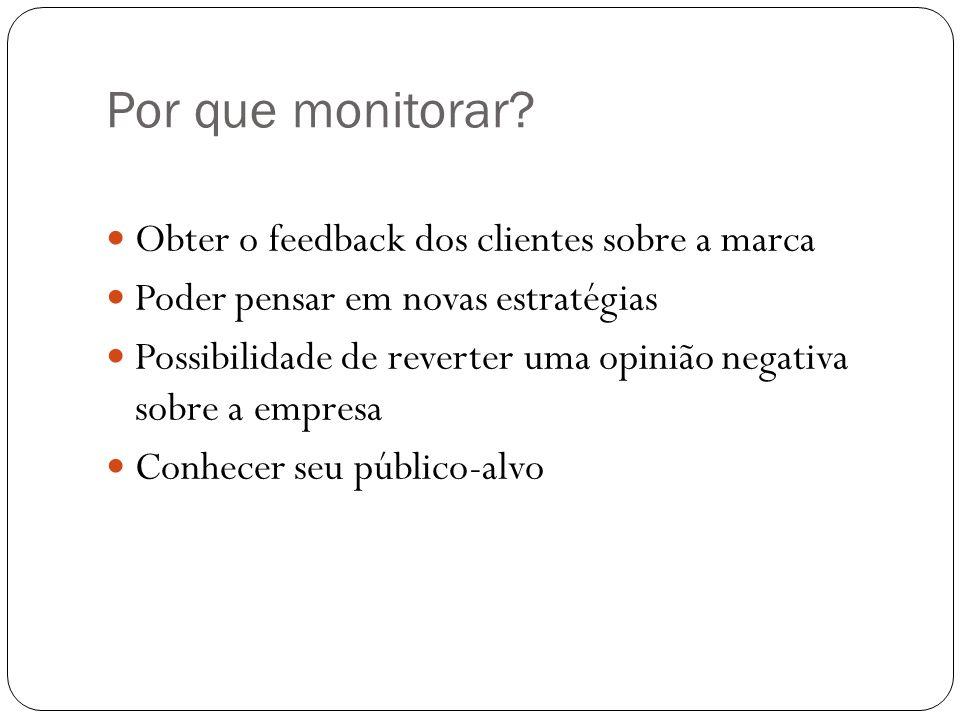 Por que monitorar Obter o feedback dos clientes sobre a marca