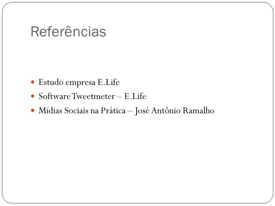 Referências Estudo empresa E.Life Software Tweetmeter – E.Life