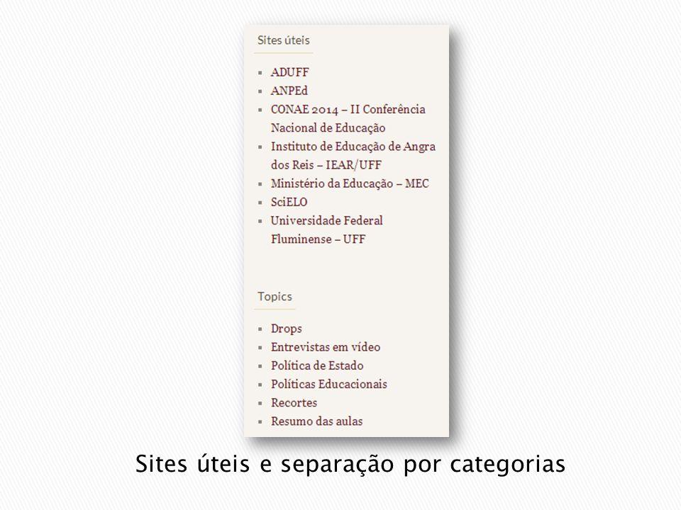 Sites úteis e separação por categorias