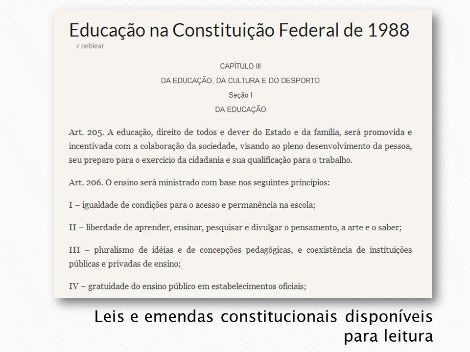 Leis e emendas constitucionais disponíveis para leitura