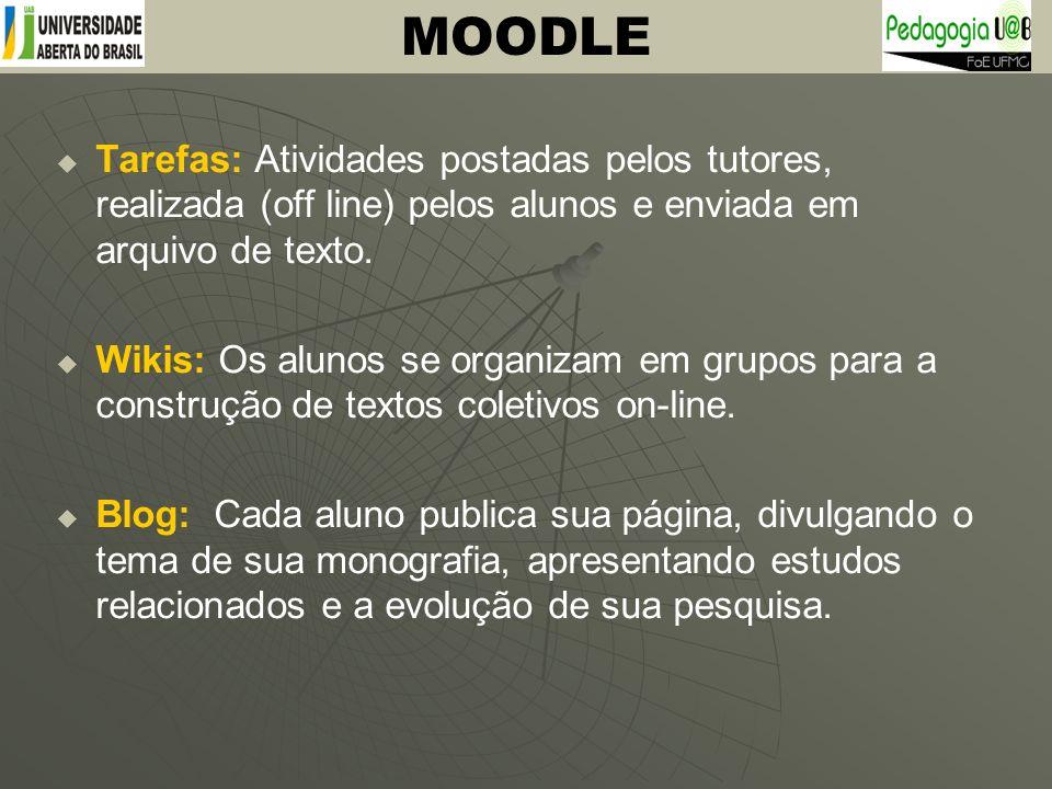 MOODLE Tarefas: Atividades postadas pelos tutores, realizada (off line) pelos alunos e enviada em arquivo de texto.