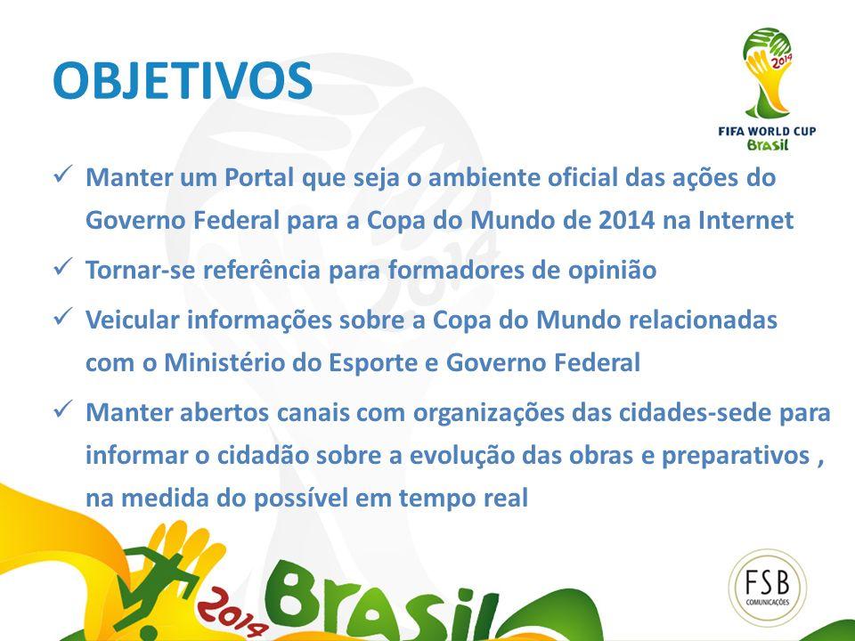 OBJETIVOS Manter um Portal que seja o ambiente oficial das ações do Governo Federal para a Copa do Mundo de 2014 na Internet.