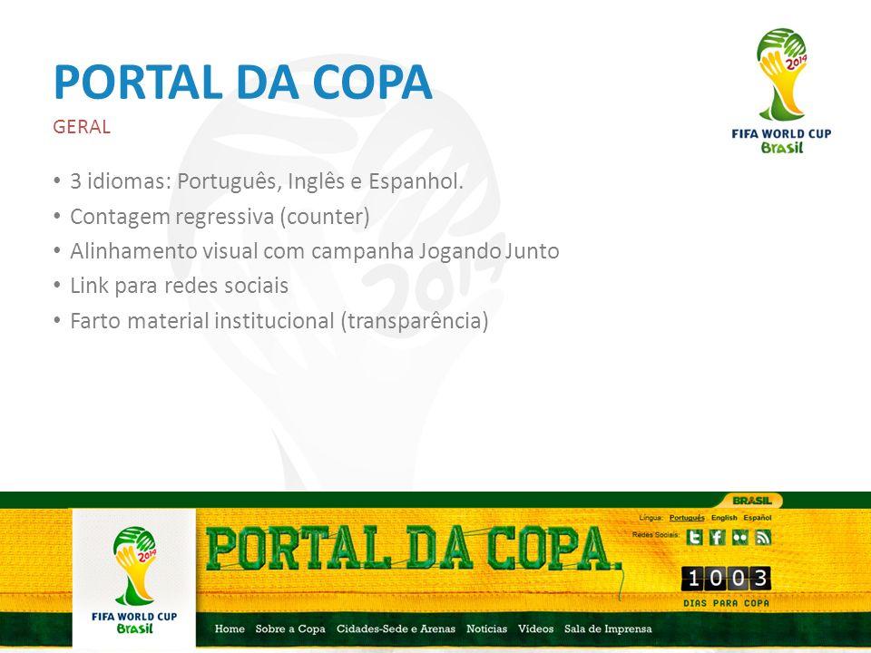 PORTAL DA COPA 3 idiomas: Português, Inglês e Espanhol.