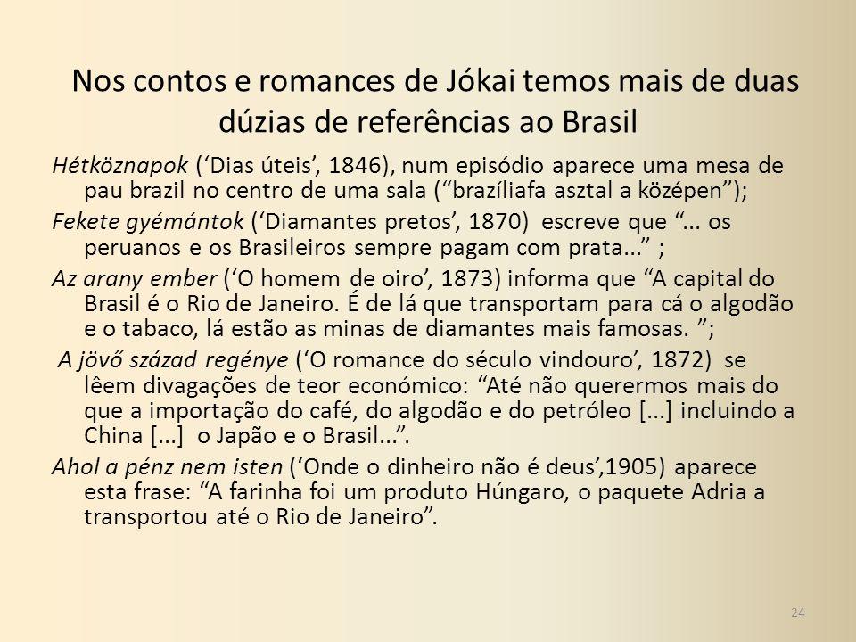 Nos contos e romances de Jókai temos mais de duas dúzias de referências ao Brasil