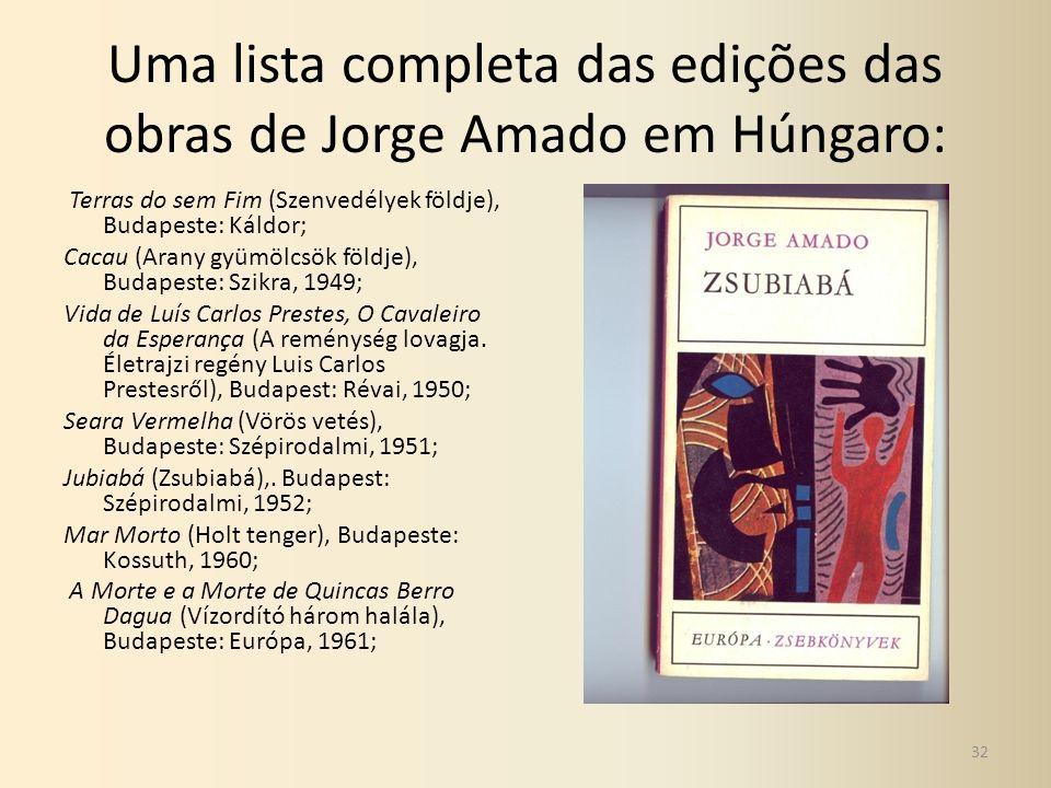 Uma lista completa das edições das obras de Jorge Amado em Húngaro: