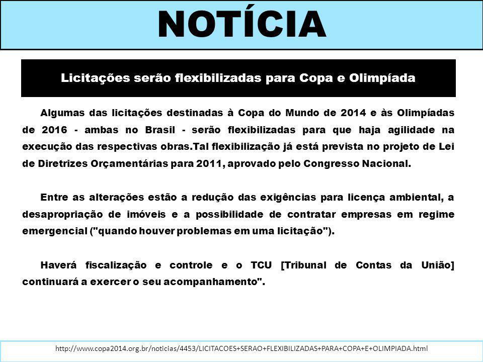 Licitações serão flexibilizadas para Copa e Olimpíada
