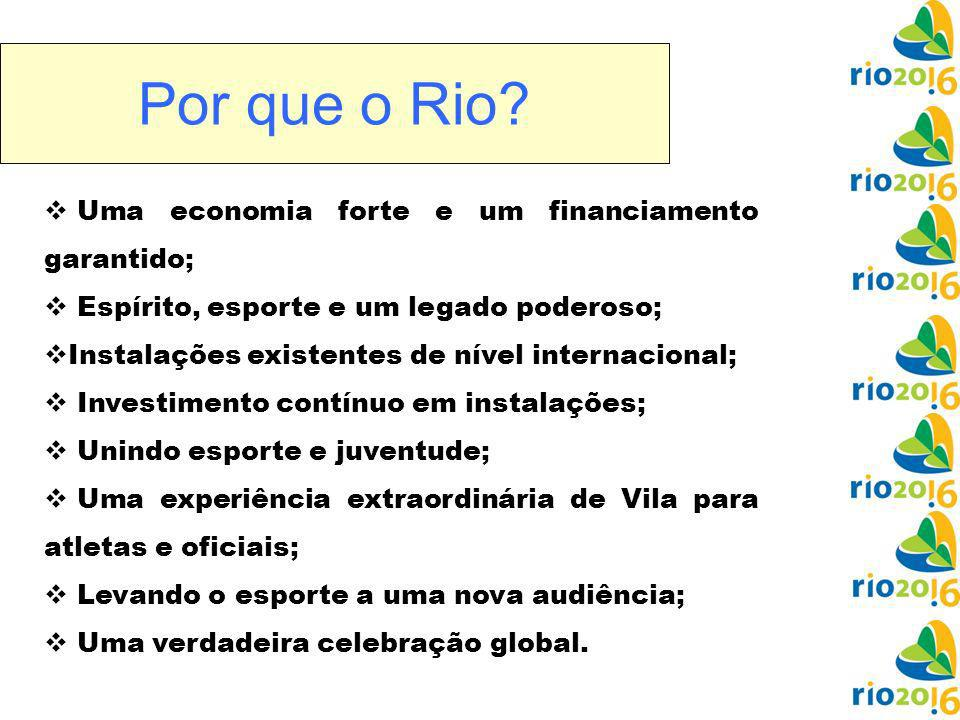 Por que o Rio Uma economia forte e um financiamento garantido;