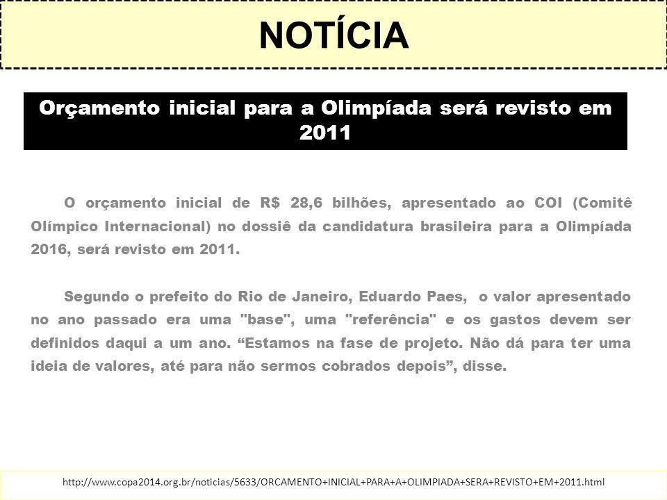 Orçamento inicial para a Olimpíada será revisto em 2011
