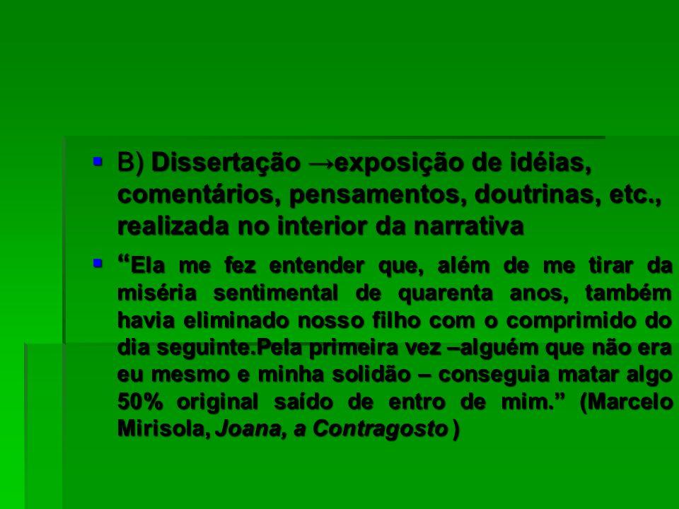 20/02/2008 B) Dissertação →exposição de idéias, comentários, pensamentos, doutrinas, etc., realizada no interior da narrativa.
