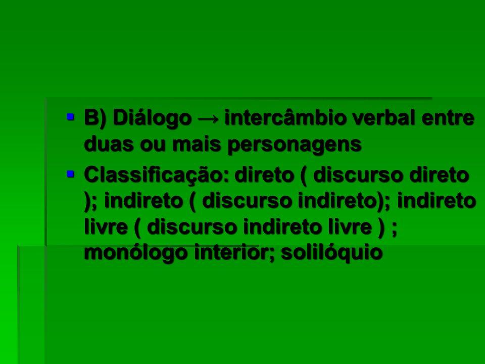 B) Diálogo → intercâmbio verbal entre duas ou mais personagens