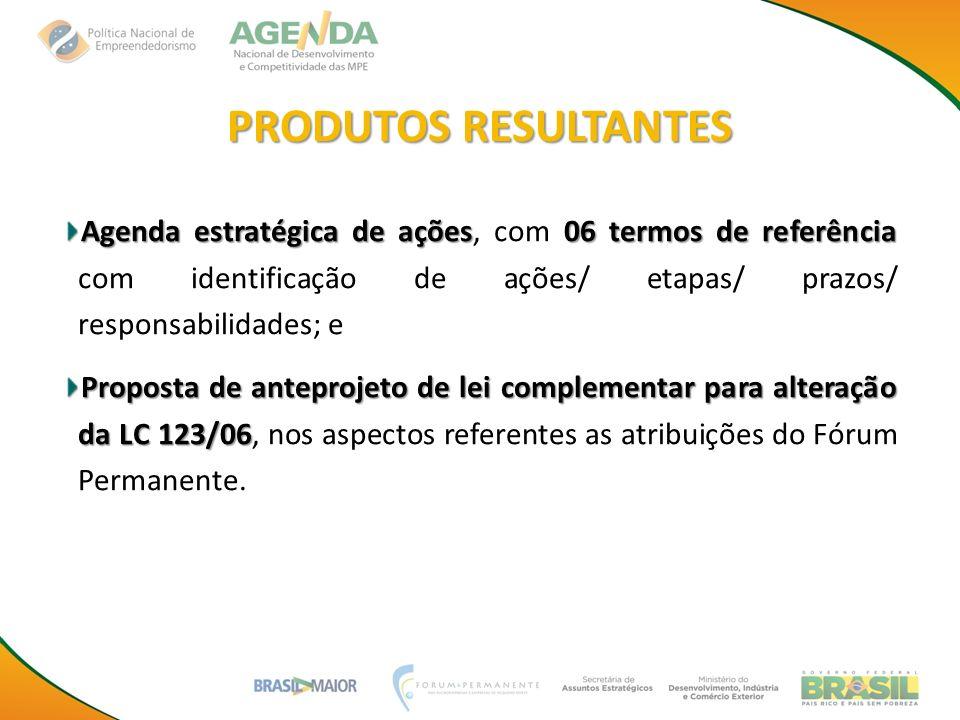 PRODUTOS RESULTANTES Agenda estratégica de ações, com 06 termos de referência com identificação de ações/ etapas/ prazos/ responsabilidades; e.