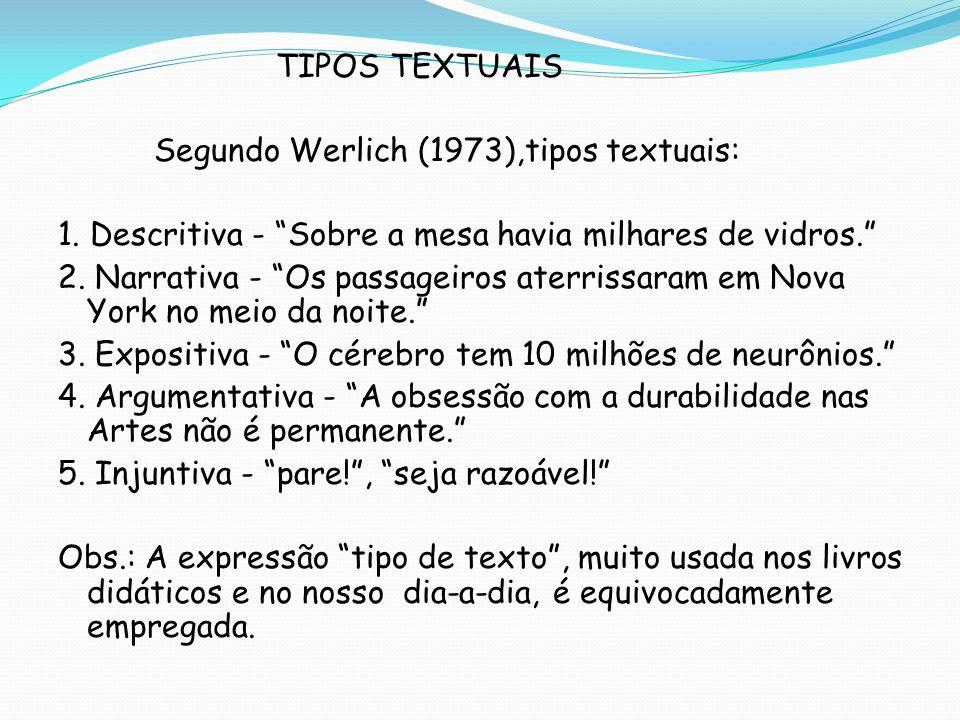 TIPOS TEXTUAIS Segundo Werlich (1973),tipos textuais: 1