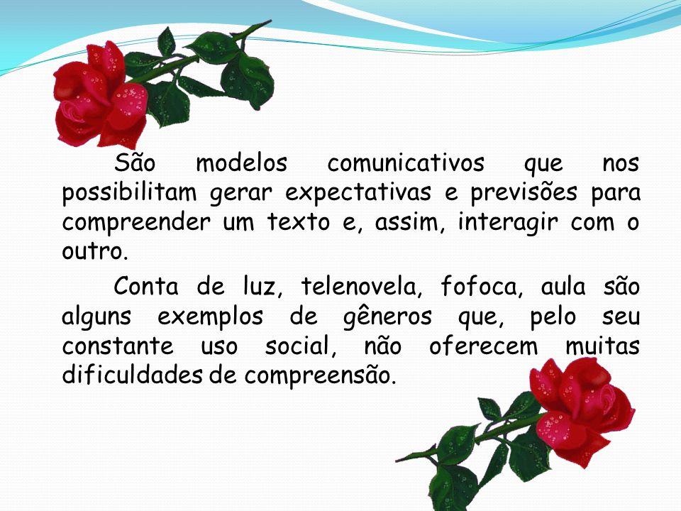 São modelos comunicativos que nos possibilitam gerar expectativas e previsões para compreender um texto e, assim, interagir com o outro.