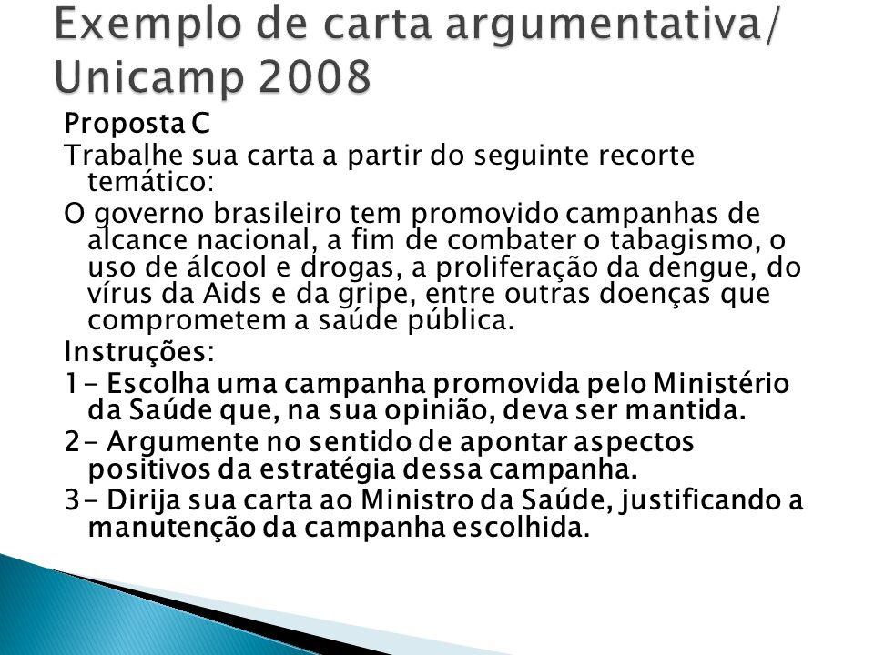 Exemplo de carta argumentativa/ Unicamp 2008