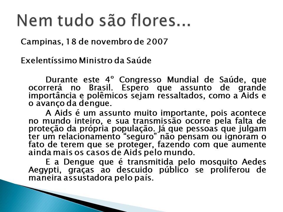 Nem tudo são flores... Campinas, 18 de novembro de 2007
