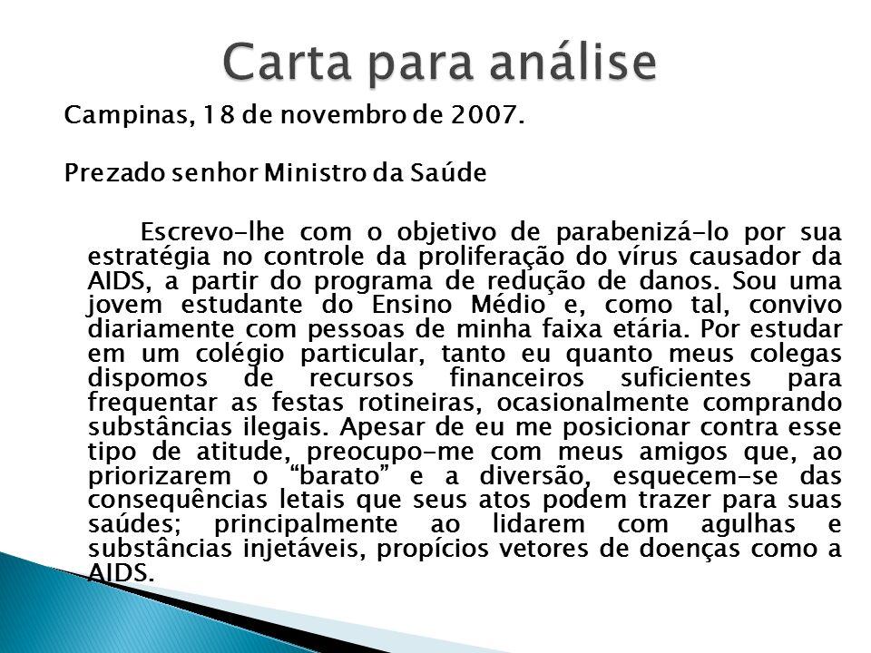 Carta para análise Campinas, 18 de novembro de 2007.