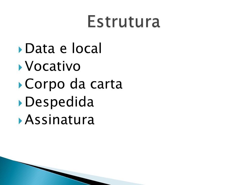 Estrutura Data e local Vocativo Corpo da carta Despedida Assinatura