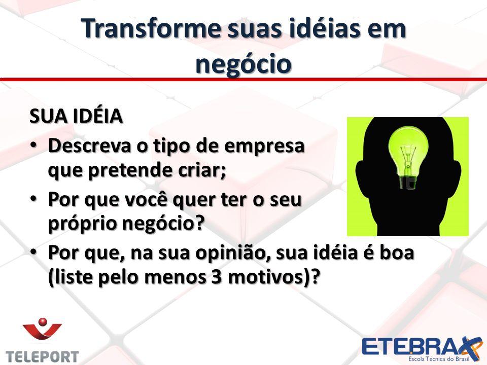 Transforme suas idéias em negócio
