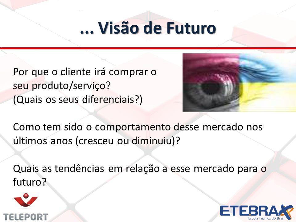 ... Visão de Futuro Por que o cliente irá comprar o seu produto/serviço (Quais os seus diferenciais )