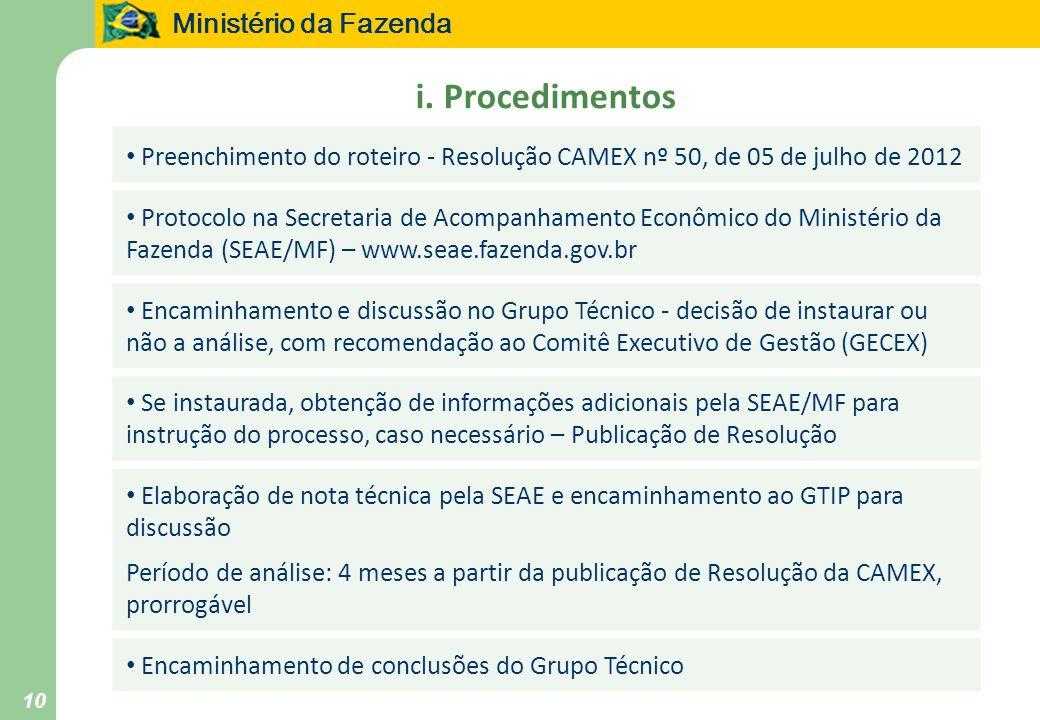 i. Procedimentos Preenchimento do roteiro - Resolução CAMEX nº 50, de 05 de julho de 2012.