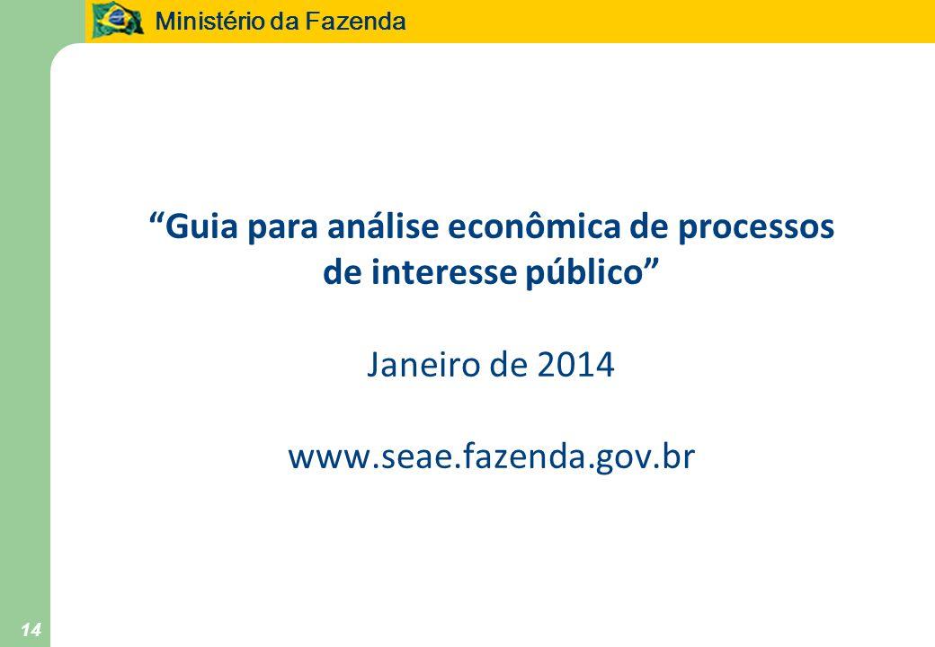 Guia para análise econômica de processos de interesse público Janeiro de 2014 www.seae.fazenda.gov.br