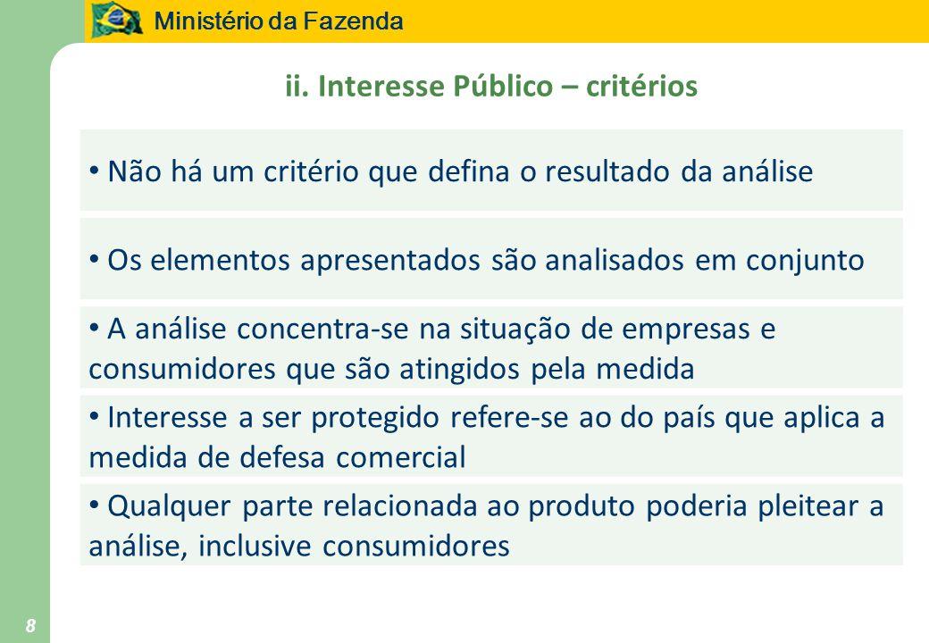 ii. Interesse Público – critérios