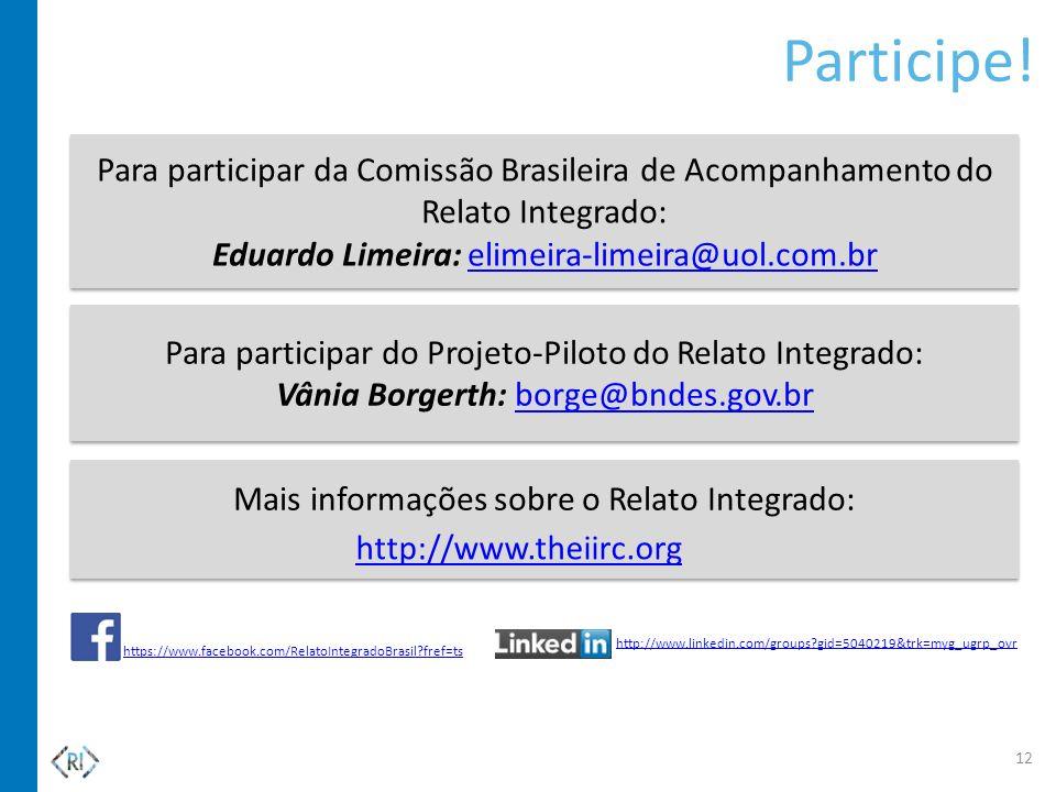 Participe! Para participar da Comissão Brasileira de Acompanhamento do Relato Integrado: Eduardo Limeira: elimeira-limeira@uol.com.br.