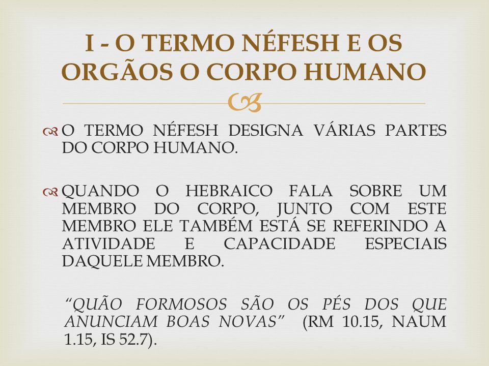 I - O TERMO NÉFESH E OS ORGÃOS O CORPO HUMANO