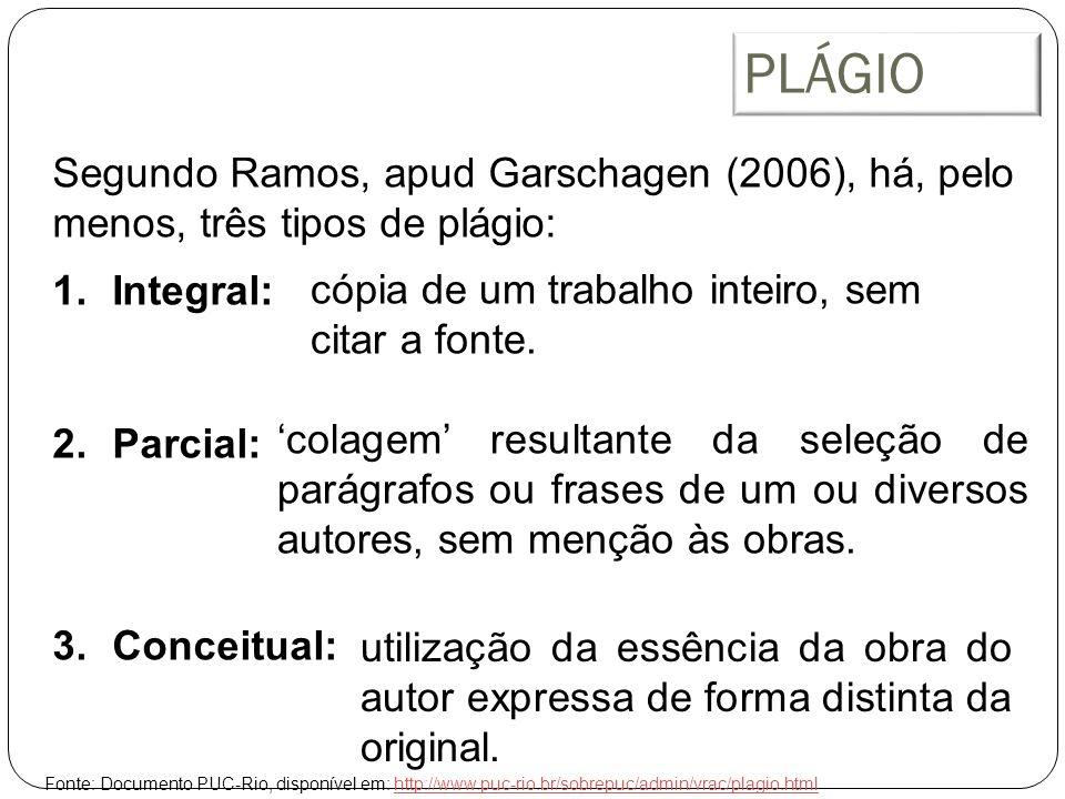 PLÁGIO Segundo Ramos, apud Garschagen (2006), há, pelo menos, três tipos de plágio: Integral: Parcial: