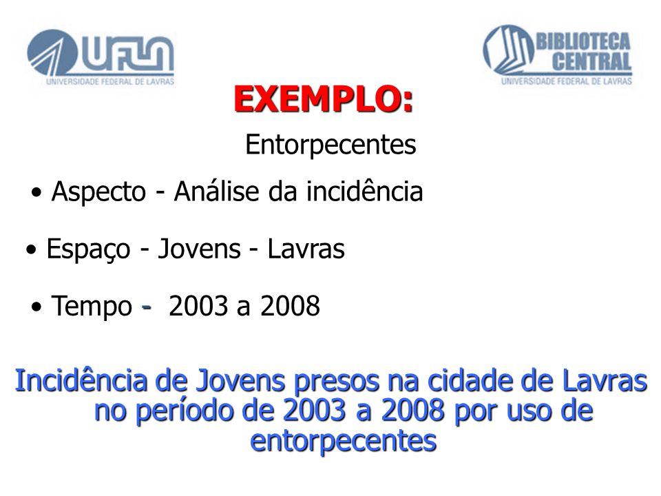EXEMPLO: Entorpecentes. • Aspecto - Análise da incidência. • Espaço - Jovens - Lavras. • Tempo - 2003 a 2008.