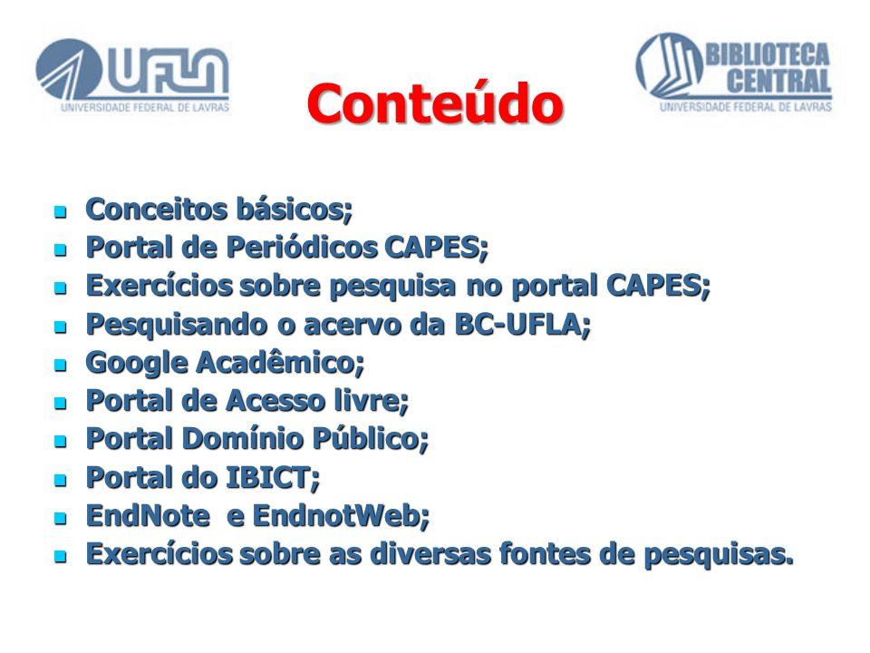 Conteúdo Conceitos básicos; Portal de Periódicos CAPES;