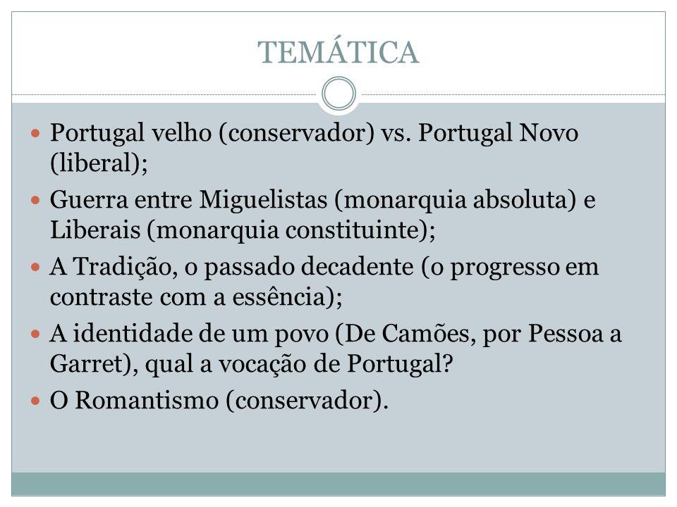 TEMÁTICA Portugal velho (conservador) vs. Portugal Novo (liberal);