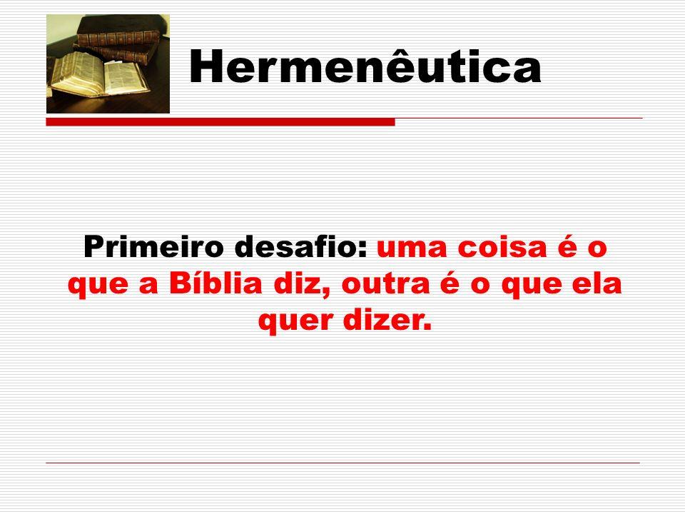 Hermenêutica Primeiro desafio: uma coisa é o que a Bíblia diz, outra é o que ela quer dizer.