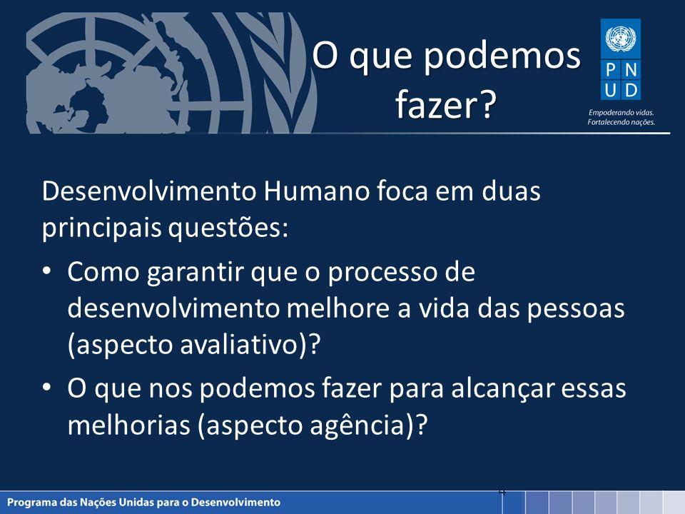O que podemos fazer Desenvolvimento Humano foca em duas principais questões: