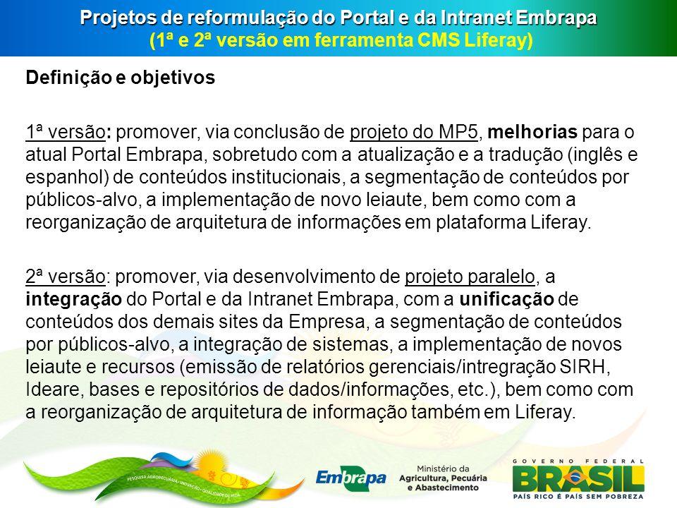Projetos de reformulação do Portal e da Intranet Embrapa (1ª e 2ª versão em ferramenta CMS Liferay)