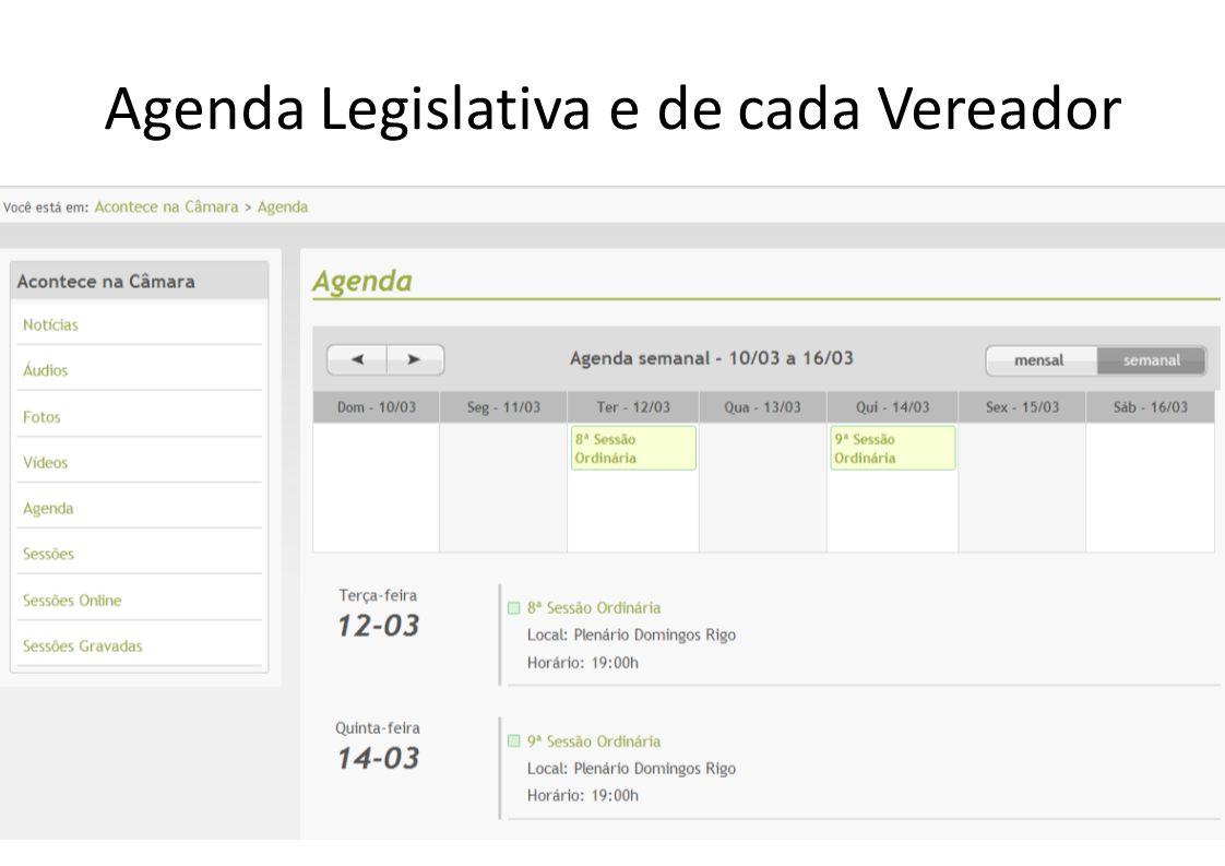 Agenda Legislativa e de cada Vereador