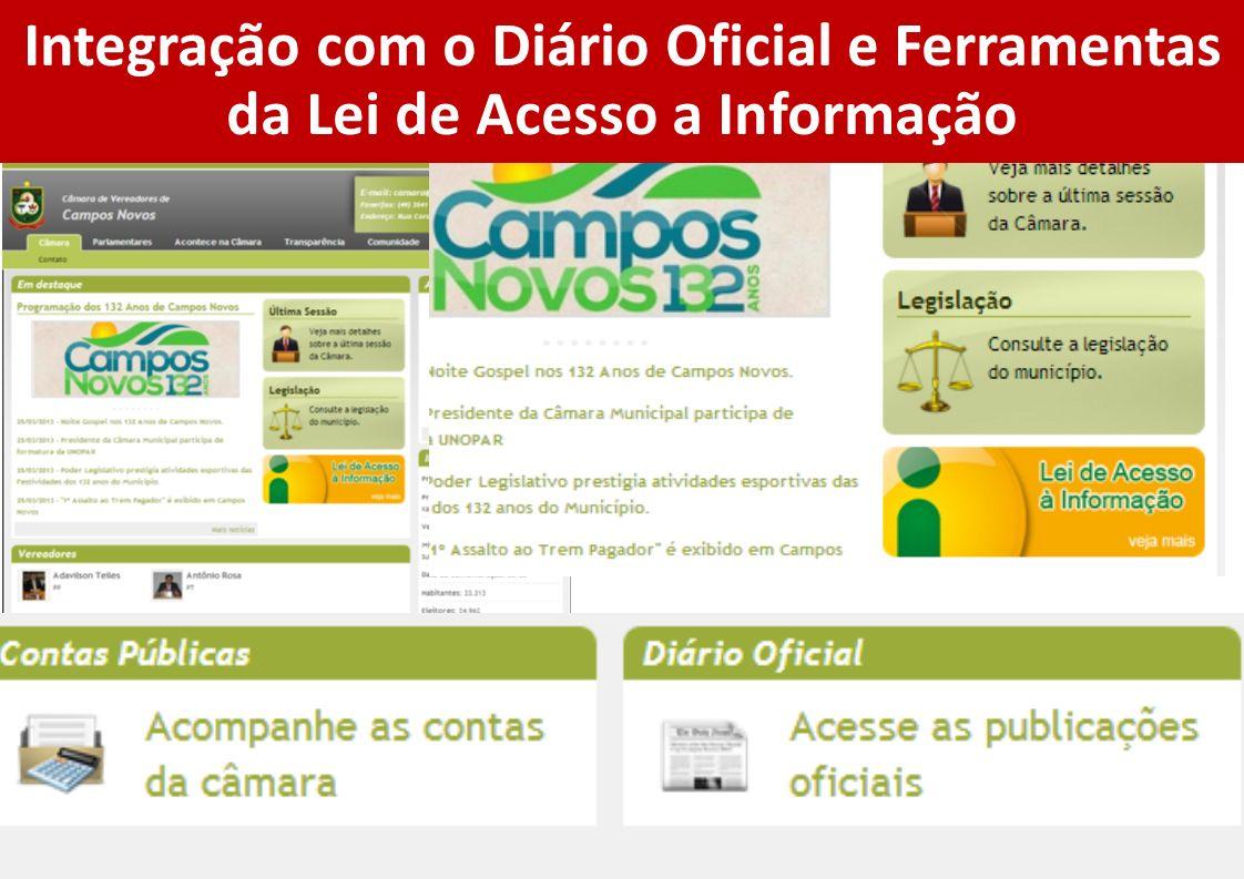 Integração com o Diário Oficial e Ferramentas da Lei de Acesso a Informação