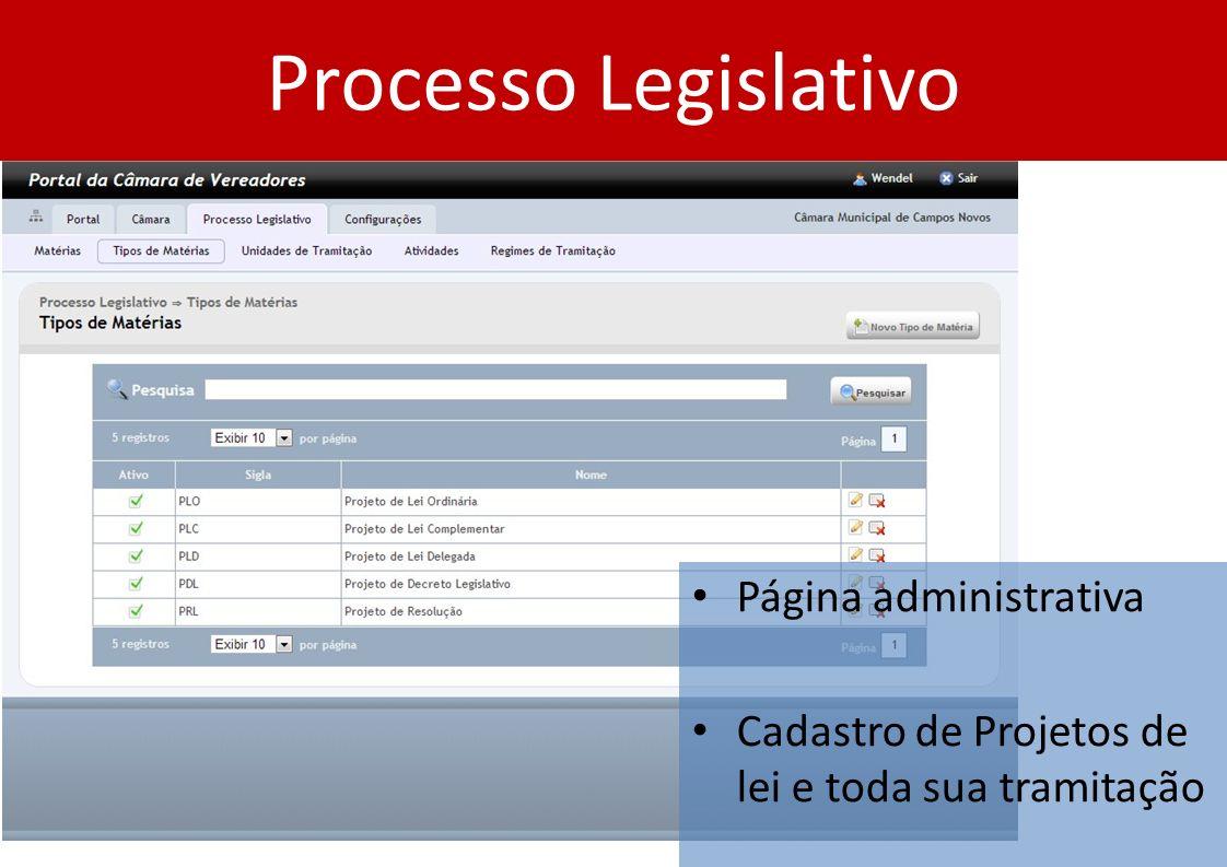 Processo Legislativo Página administrativa